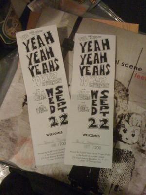 Yeah Yeah Yeahs 10th Anniversary Tickets