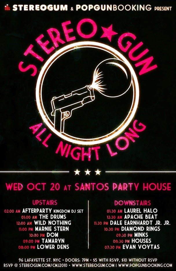 Stereogum PopGun CMJ 2010 Poster with Drums
