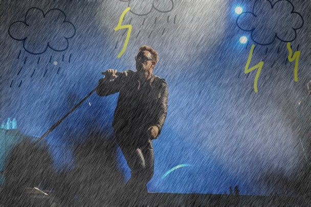 Bono Hitchhiking In The Rain