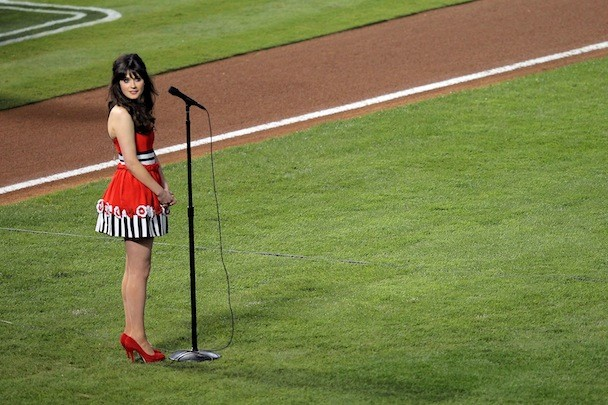 Zooey Deschanel Sings The National Anthem