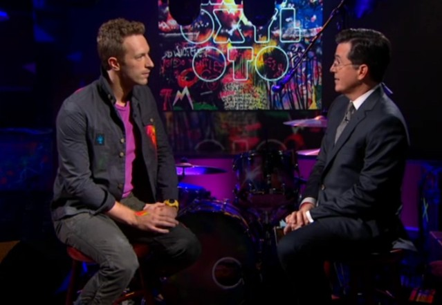 Chris Martin and Stephen Colbert