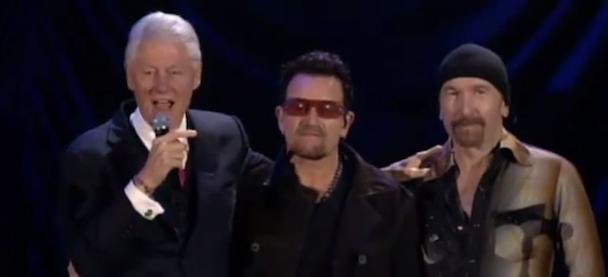 Watch Bono & The Edge Play William J Clinton Foundation 10 Year Anniversary