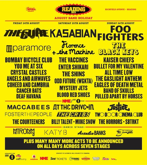 Reading Fest Lineup 2012