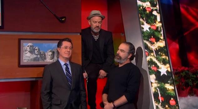 Stephen Colbert, Michael Stipe & Mandy Patinkin on The Colbert Report