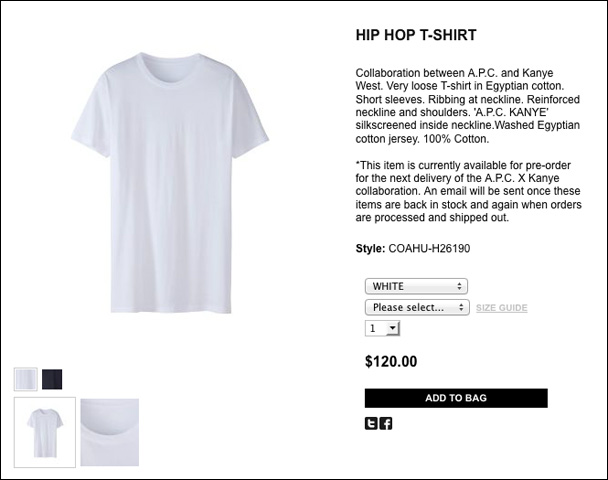 Kanye s a p c line includes a 120 plain white t shirt for Apc white t shirt