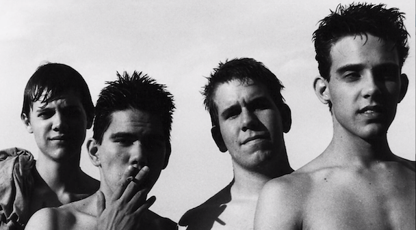 "alt=""Slint band black and white smoking cigarettes without shirts"""