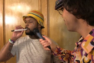 Watch ScHoolboy Q Smoke A Comically Large Joint For Nardwuar