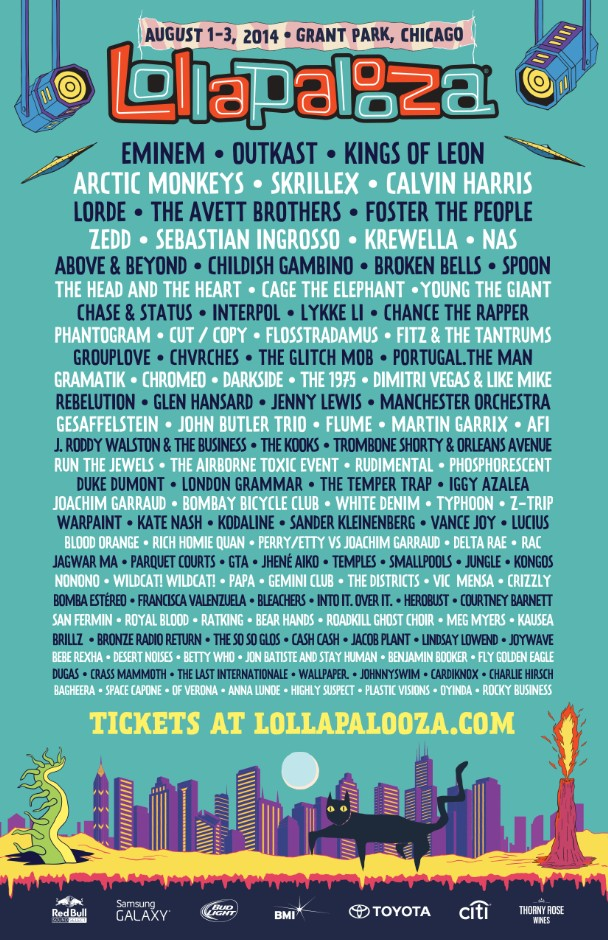 lollapalooza lineup 2014 poster. Black Bedroom Furniture Sets. Home Design Ideas