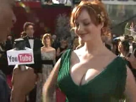 The Emmys Christina Hendricks S Neverending Cleavage