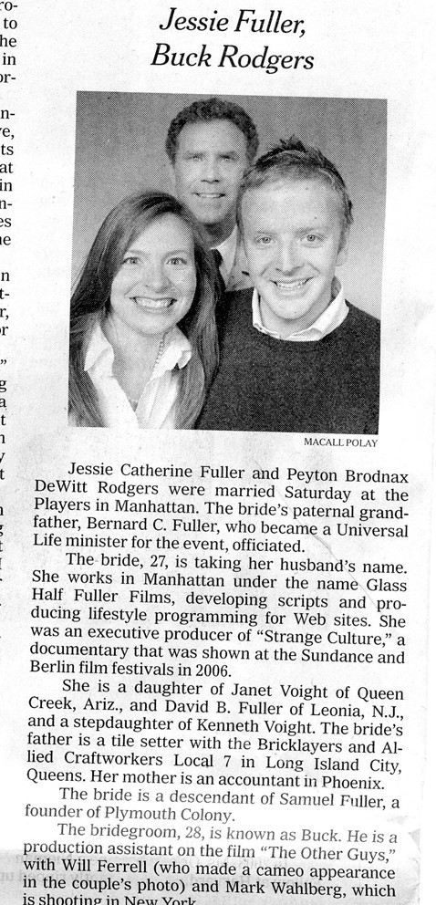 New York Times Wedding Announcement.Will Ferrell Photobombs A New York Times Wedding Announcement