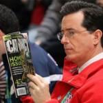 A Photo Of Stephen Colbert Reading <em>Cat Fancy</em> Magazine At The Olympics
