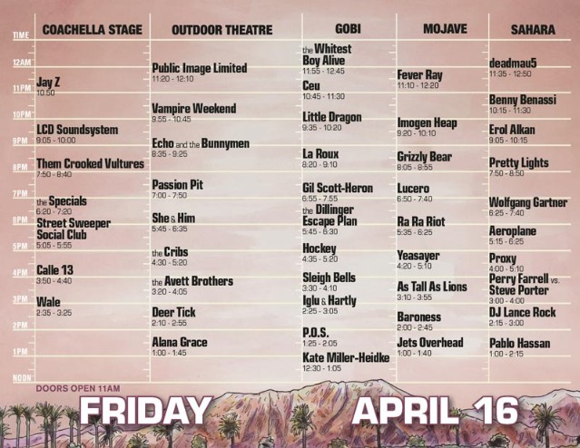 Coachella 2010 Set Times - Friday