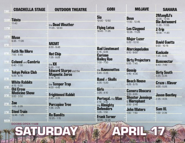 Coachella 2010 Set Times - Saturday