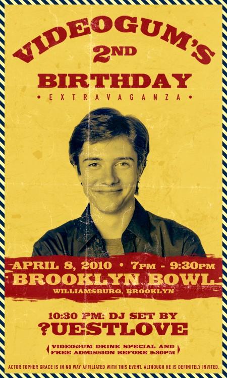 Videogum 2nd Birthday Flyer