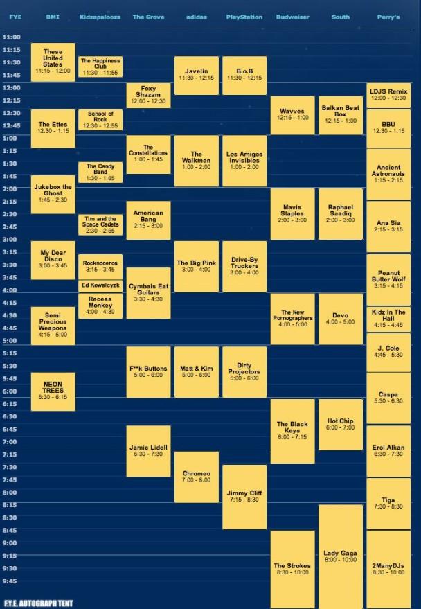 Lollapalooza Schedule 2010 - Friday
