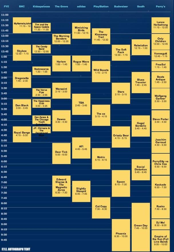 Lollapalooza Schedule 2010 - Saturday