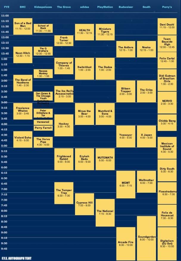 Lollapalooza Schedule 2010 - Sunday