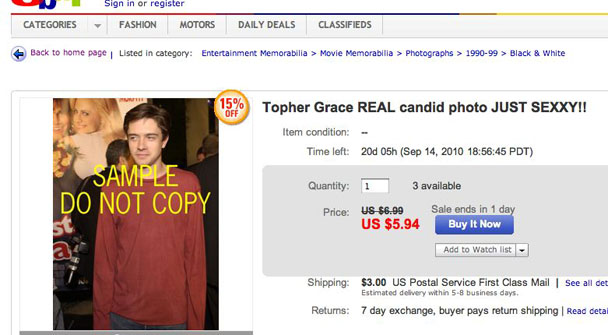 Topher Grace Ebay