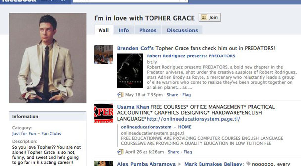 Topher Grace Facebook Group