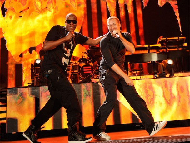 Jay-Z Chris Martin Yankee Stadium