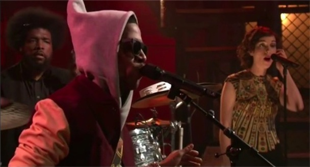 "St. Vincent, Kid Cudi, Cage, Roots Do ""Maniac"" On Fallon"