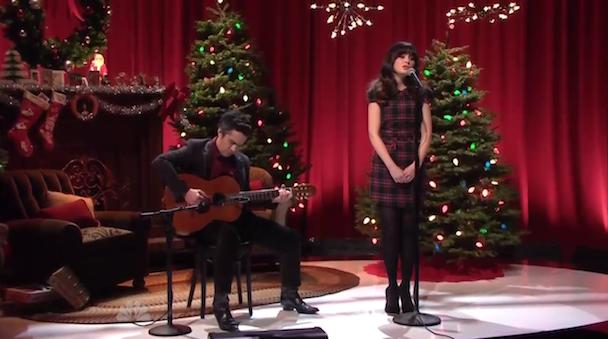 """She & Him Do """"Christmas Waltz"""" For Leno"""