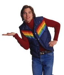 A not so stylish Kutcher, as he appeared in <i>That 70s Show</i>.