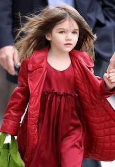 Exclusive - Suri Cruise Shows off Her Red Dress