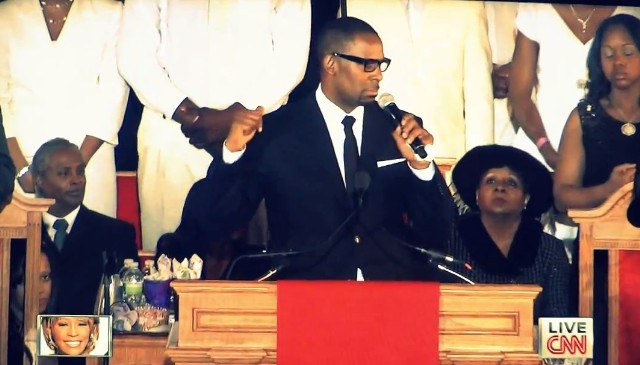 R. Kelly at Whitney Houston's funeral