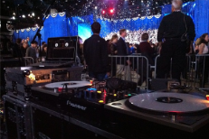 The view from behind the decks at Obama's 2012 victory party