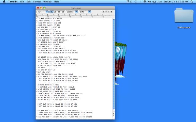 "Frank Ocean - ""Wiseman"" Lyrics"