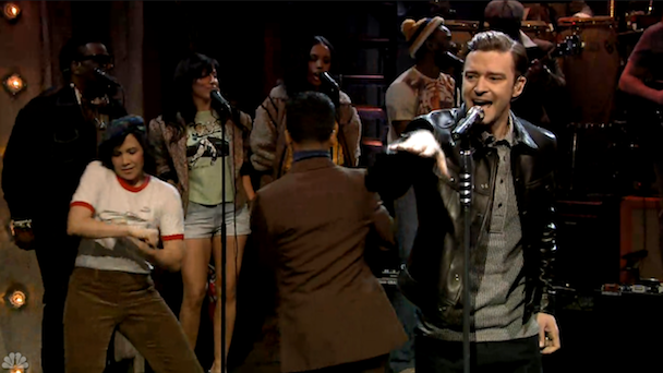 "Watch Justin Timberlake Perform ""Little Pusher Love Girl"" On Fallon"