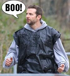 Exclusive - Bradley Cooper Wears A Trash Bag On Set