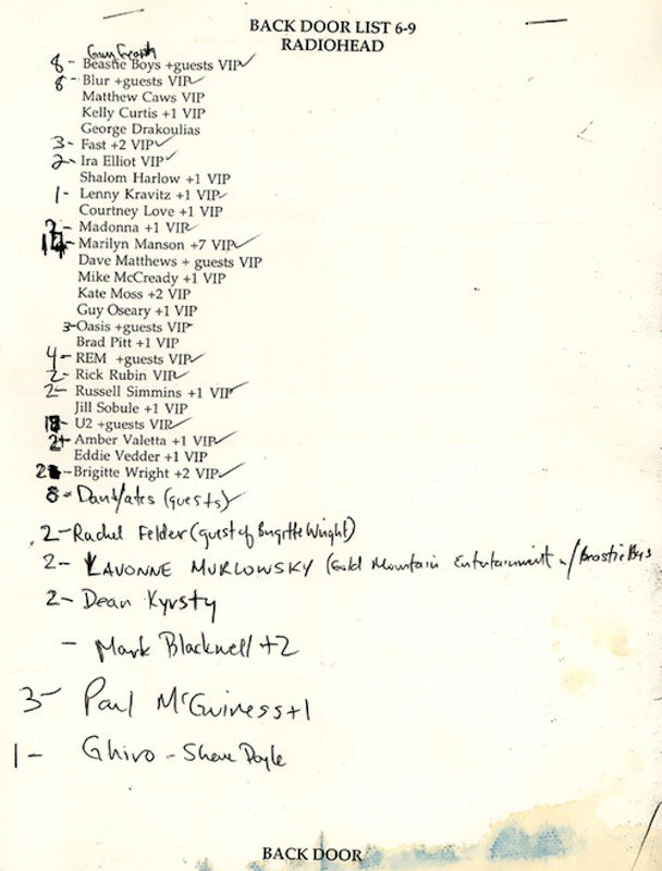 Check Out The Guest List For Radiohead @ Irving Plaza '97