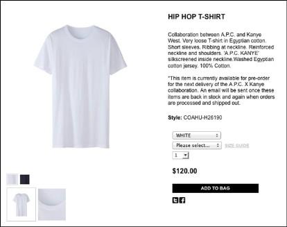 Kanye West x A.P.C. Hip Hop T-Shirt