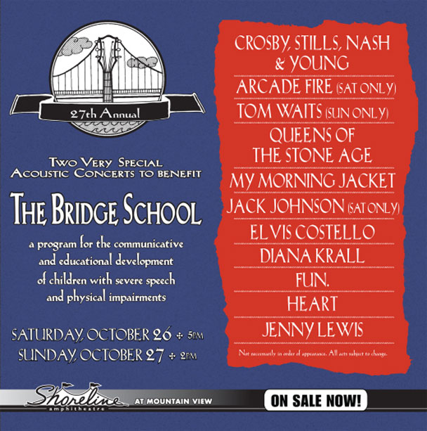 Stream The 2013 Bridge School Benefit Feat. Arcade Fire, CSNY, Tom Waits, & More
