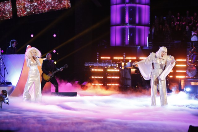 Christina Aguilera and Lady Gaga on The Voice