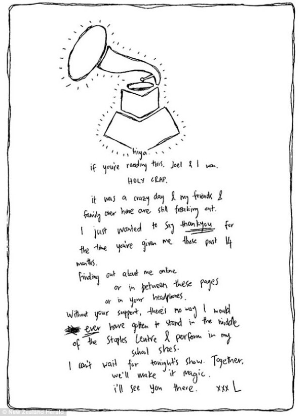 Lorde letter