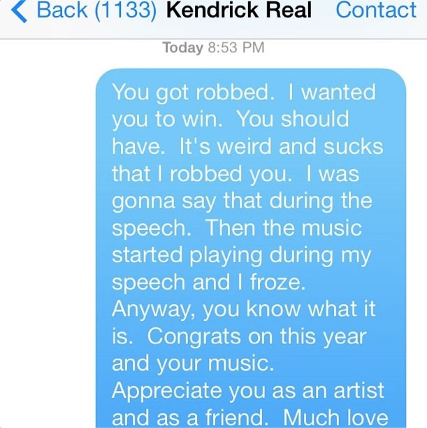 Macklemore's Apology Text To Kendrick Lamar