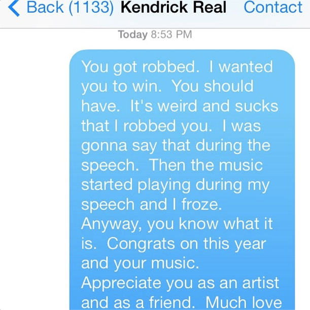 Read Macklemore's Apology Text To Kendrick Lamar For Winning Best Rap Album Grammy