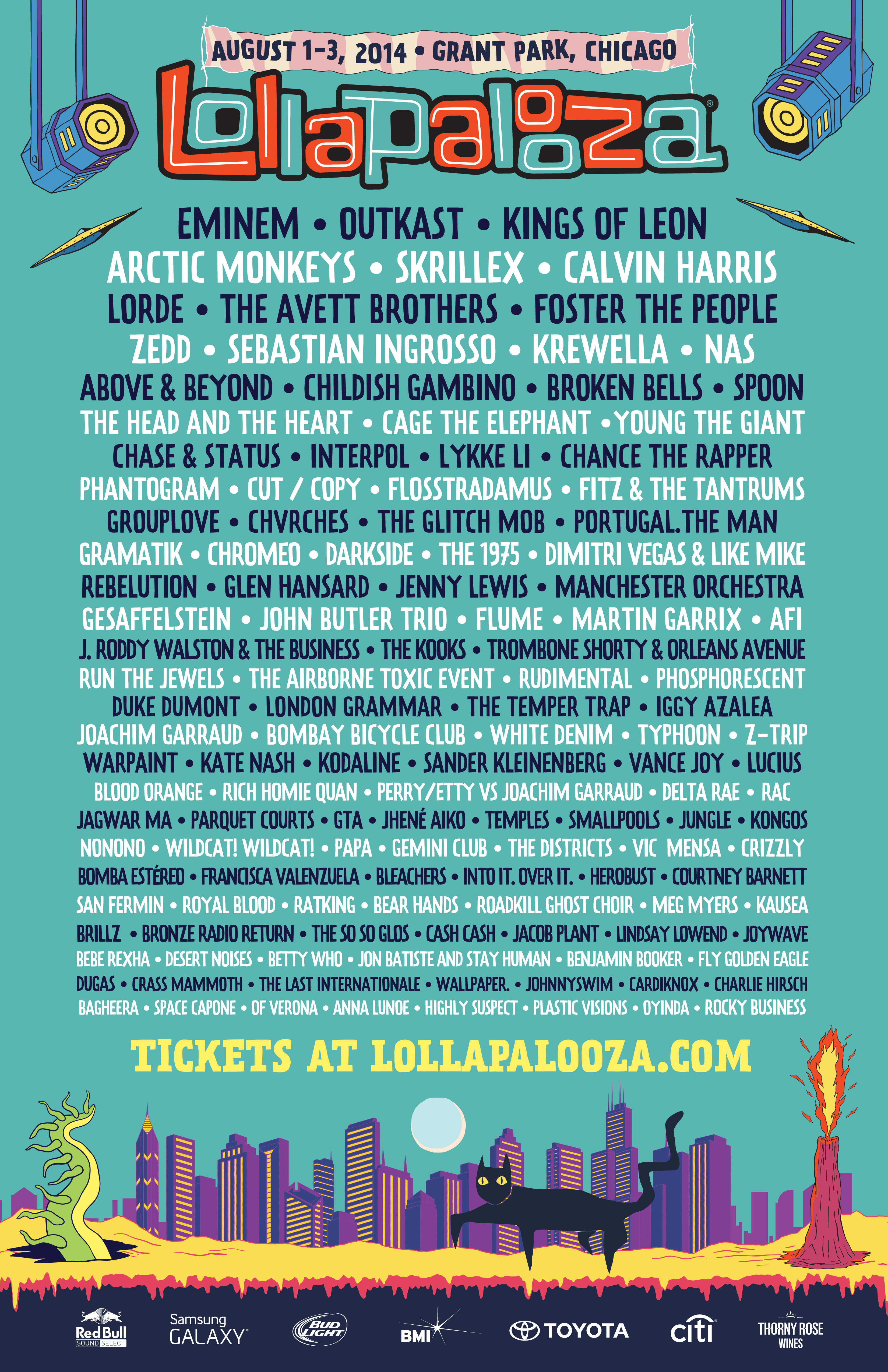 Lollapalooza lineup 2014 stereogum for Jardin stereo 2015 line up