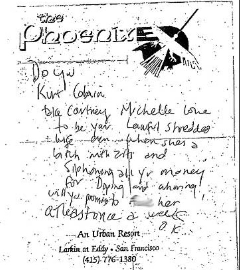 Kurt Cobain note