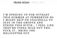 Frank Ocean's New Album Is Almost Finished