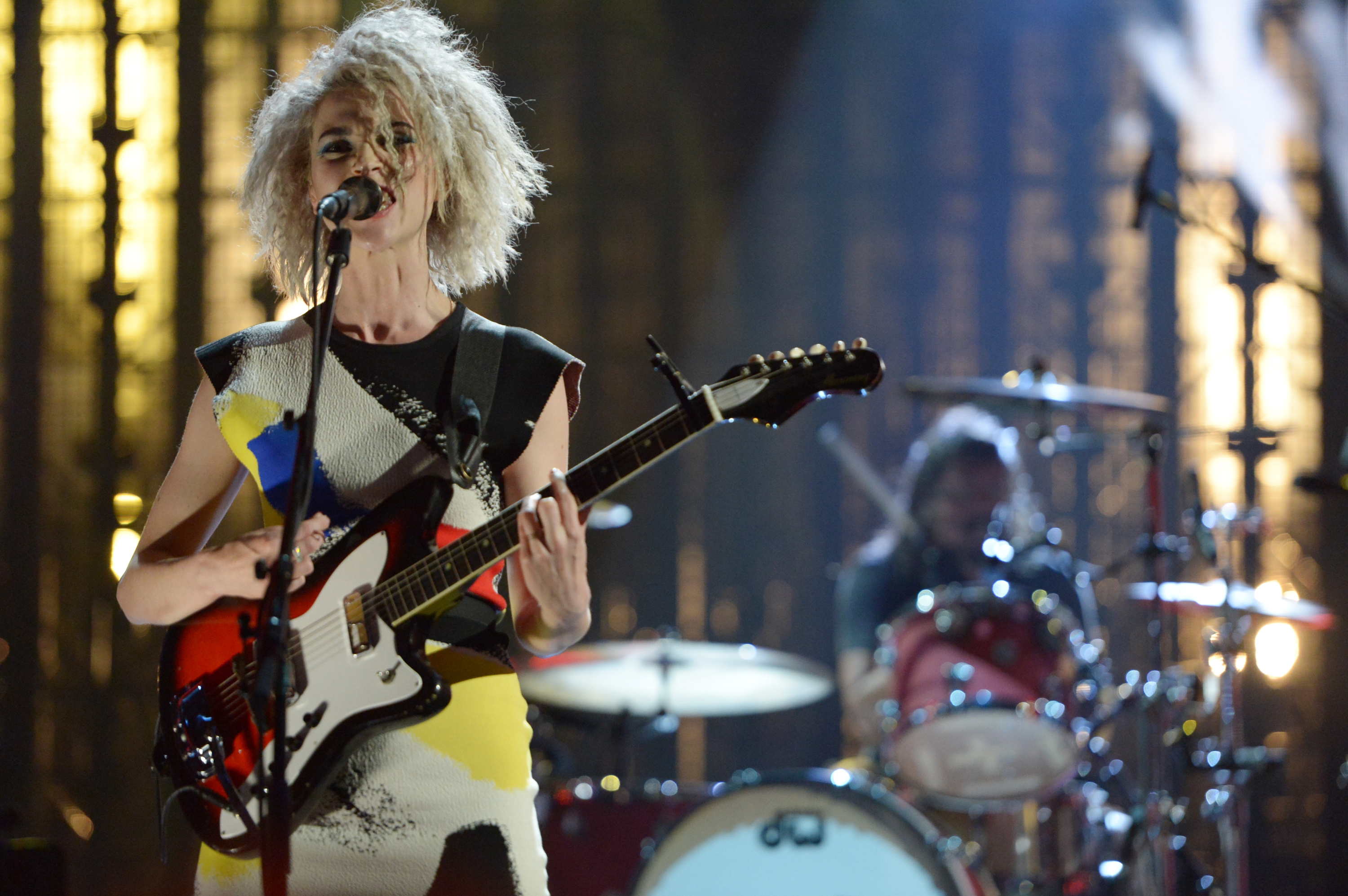"Watch An Official Clip Of St. Vincent Performing ""Lithium"" With Nirvana At The Rock & Roll Hall Of Fame Induction"