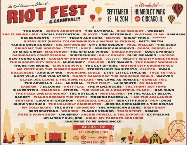 Riot Fest Lineup 2014