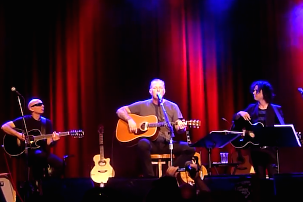 Joe Satriani, James Hetfield, and Billy Joe Armstrong at the Acoustic-4-A-Cure Benefit