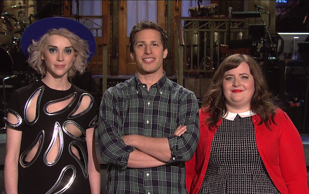 Annie Clark, Andy Samberg, and Aidy Bryant
