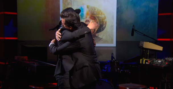 "Watch Stephen Colbert Ask ""Why Beck Sad?"" And Give Beck A Hug"