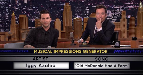 Watch Jimmy Fallon & Adam Levine Play Wheel Of Musical Impressions