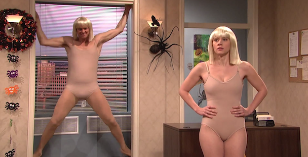 """Watch SNL's """"Chandelier"""" Halloween Party Sketch With Jim Carrey & Iggy Azalea"""